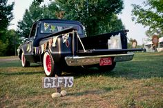 """Gift Truck: was thinking of using some old wheelbarrows lined with fabric for any gifts that come to the wedding (thoughts?) I am guessing most people will send them here (hoping!) Maybe a small """"Gifts"""" sign like this?"""