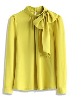 Kiss Me Bow Top in Mustard - New Arrivals - Retro, Indie and Unique Fashion