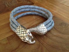 Lederarmband snake blaugrau von moanda auf DaWanda.com