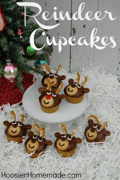 Reindeer Cupcakes...Grady's class party for the kids to decorate...