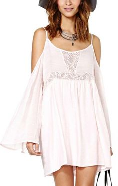 Light Pink Off-Shoulder O-neck Long Sleeve Dress