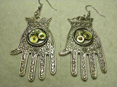 Steampunk Jewelry Hand Earrings Sterling Hamsa by MelancholyMind, $19.99