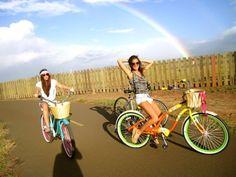 breezy biking w/a rainbow.