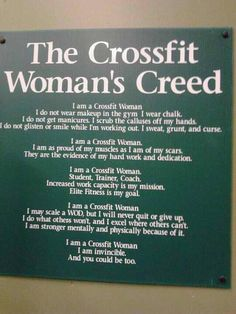 The Crossfit Woman's Creed