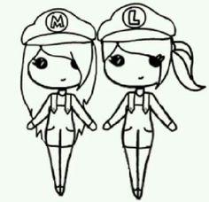 Girl Mario and girl Luigi