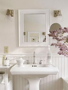 Love the pedistal sink -- if there's other storage in the bathroom.  Idea for kids' bathroom?