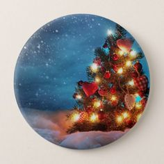 Christmas tree - Christmas decorations -Snowflakes Pinback Button - christmas buttons holidays merry xmas cyo unique