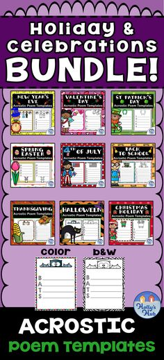 This fantastic holiday Themed Acrostic Poem BUNDLE is ideal for the whole year of school starting with Back to School! This pack includes 376 pages  There are short and longer words in order to suit different levels of writers. Why not display your children's wonderful poetry on your bulletin boards? Children can choose their favorite words and write their own poem. Great for teaching about animal habitats/environments, poetry, creative writing or just a fun time filler! #backtoschool #poems Social Studies Activities, Writing Activities, Easter Poems, School Template, Longest Word, Animal Habitats, Favorite Words, Elementary Teacher, Fun Time