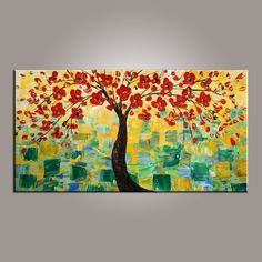 art on sale, flower tree painting, abstract art painting, dining