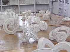 pratt CES: wire sculptures with pantyhose stretched over them-I haven't seen this process done this well before! Beautiful