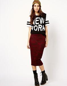 New Look Space Dye Midi Pencil Skirt