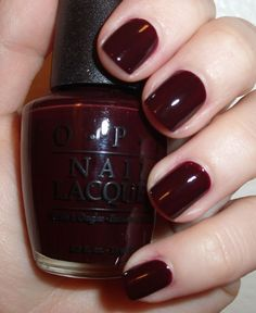 Hollywood and Wine OPI This oxblood color is rich and refined looking. And ever so slightly vampy;)