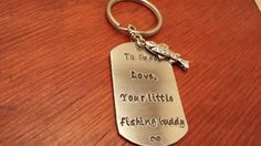 Hand stamped dog tag key chain Little by ByalittlebitofFaith, $24.00