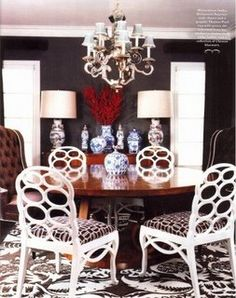 Similar idea for painting the round or rectangular table:  white legs, black top with stencil, white chairs possibly with cushions added. :)