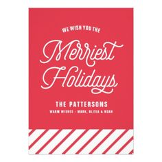 Red The Merriest Holidays Typography Flat Card - Xmas ChristmasEve Christmas Eve Christmas merry xmas family kids gifts holidays Santa