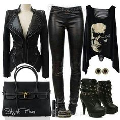 Punk rocking all black love the jacket and booties