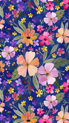 May the flowers be with you! vibrant pink and navy design for your creations. Flower Background Wallpaper, Flower Phone Wallpaper, Summer Wallpaper, Love Wallpaper, Cellphone Wallpaper, Flower Backgrounds, Colorful Wallpaper, Wallpaper Backgrounds, Iphone Wallpaper