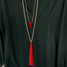 Long Layered Necklace, Double Chain Tassel Pendant #bohojewelry #leatherjewelry #tassels #bohonecklace