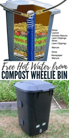 Free Hot Water from Compost Wheelie Bin - Compost can reach a core temperature of 70 degrees Centigrade. Conventional Hot Water systems are thermostatically set to heat the water to around 65 – 70 degrees centigrade. So at its peak this system will create very hot water for free.
