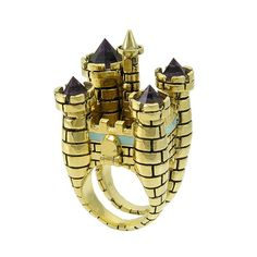 Antique Gold Plated Drawbridge Castle Cocktail Ring from Disney Couture 3d Crystal, Crystal Magic, Crystal Jewelry, Crystal Castle, Crystal Ring, Stone Jewelry, Gold Jewelry, Jewelry Rings, Disney Couture Jewelry