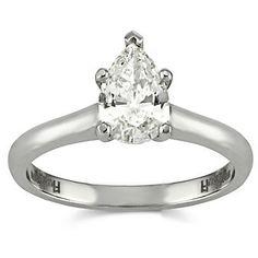 18K Pear Shape Diamond Engagement Ring from Borsheims