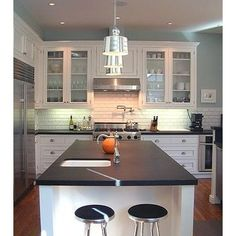 White Cabinets And Dark Counters Design, Pictures, Remodel, Decor and Ideas