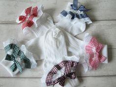 Handmade lemon gingham frilly socks baby//girls school spring summer