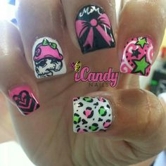 Metal Mulisha Maidens, really cute nails besides the Metal Mulisha shull Crazy Nails, Love Nails, How To Do Nails, Fun Nails, Pretty Nails, Nail Art Designs, Colored Acrylic Nails, Super Cute Nails, Metal Mulisha