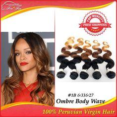Ombre hair extensions 5pcs three tone 1b#/33#/27# peruvian Virgin Hair extension human hair weaves body wave queen hair products $145.00 - 322.00