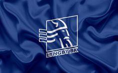 Download wallpapers Lyngby FC, Lyngby Boldklub, 4K, Danish football club, emblem, logo, Danish Super League, football, Lyngby, Denmark, silk texture