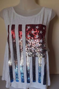 victoria secret pink USA FLAG 4TH OF JULY TANK TOP NWT! SEQUINS ...