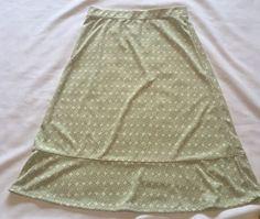 ** Sigrid Olsen Skirt Ladies Womens Small Modest Green And Off White Polyester** #SigridOlsen #FullSkirt