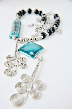 handmade  necklace necklace with iznik tilesceramic by Bluees, $32.00