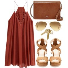 brunchin by southerncurlsandpearls on Polyvore featuring Pull&Bear, FOSSIL, Ray-Ban and Maison Margiela