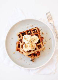 Whole wheat banana nut waffles