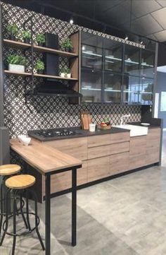 Cool Industrial Kitchen Floor Ideas 51 With Additional Home Design Furniture Decorating with Industrial Kitchen Floor Ideas : Kitchen Industrial Kitchen Design, Kitchen Room Design, Modern Kitchen Design, Kitchen Layout, Home Decor Kitchen, Interior Design Kitchen, Kitchen Furniture, New Kitchen, Home Kitchens