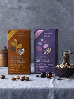 #packaging #design #package #food #graphic #design #window #cut Cereal Packaging, Food Packaging, Packaging Design, Muesli Bars, Granola, Dorset Cereals, Food Font, Coffee Shot, Roasted Nuts