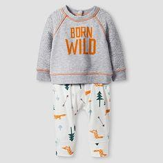Baby Boys' 2-Piece Born Wild Set Baby Cat & Jack™ - Heather Grey : Target