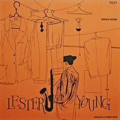 "Lester Young - Norgran 1022  (12"" LP) 1955  Design- David Stone Martin"