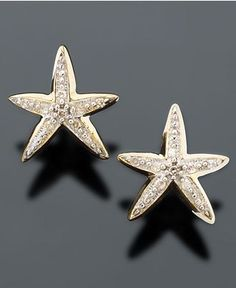 starfish #diamond #gold #earrings
