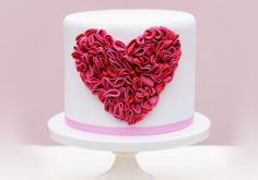 Pretty Shades of Pink Ruffled Heart Cake