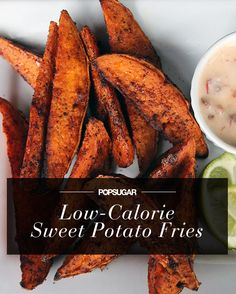 Low-calorie (completely delicious) spicy sweet potato fries. 1/4 of the recipe and dip = less than 160 calories.