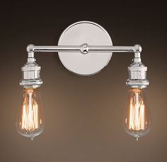 "20TH C. FACTORY FILAMENT BARE BULB DOUBLE SCONCE - POLISHED NICKEL - 5¾""L X 11½""W X 5""H TEM#68450209 PN"