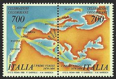 Italy Scott #1795-96 (24 Feb 1990): se-tenant issue showing map of Christopher Columbus' first voyages near Europe and Africa (1474-1484).   Columbus (Colón, Colombo) issue.
