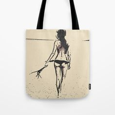 "Bikini Girl - sexy conte - Our #quality crafted #Tote #Bags are hand sewn in America using durable, yet lightweight, poly poplin fabric. All seams and stress points are double stitched for durability. They are washable, feature original artwork on both sides and a sturdy 1"" wide cotton webbing strap for comfortably carrying over your shoulder. #fetish #sexy #kinky #erotic #naughty #handbags #beach #summer #beige #cream #artsy"