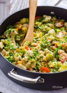 1 Skillet Quinoa/Meat/Veggie skillet - 1 cup raw quinoa added with 1 cup water then covered and cooked altogether. Seriously quick & healthy