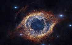 """ESO's Visible and Infrared Survey Telescope for Astronomy (VISTA) has captured this unusual view of the Helix Nebula (NGC a planetary nebula located 700 light-years away. The Helix Nebula is sometimes called the """"Eye of God. Helix Nebula, Planetary Nebula, Orion Nebula, Crab Nebula, Cosmos, Eclipse Video, Universe Drawing, Nebula Tattoo, Nebula Wallpaper"""