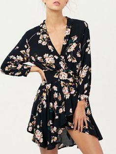 Floral Asymmetric Wrap Dress - Cadetblue