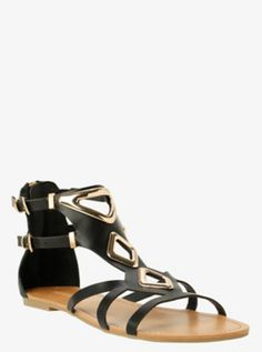 Metallic Trim Gladiator Sandals (Wide Width)