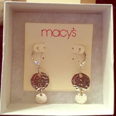 Macy's Silver Circle Drop Earrings Worn a couple of times. Disinfected and cleaned with rubbing alcohol. Perfect for any casual outing or a simple touch to any outfit! Little wear on clasp from use (shown in pictures) but still in great condition! Macy's Jewelry Earrings